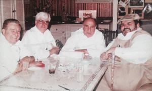 Jimmy Lagarde with New Orleans' top chefs at the time Goffredo Fraccaro, Chris Kerageorgiou, and Paul Prudhomme during a filming at Lagarde's demonstration kitchen.
